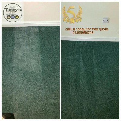 before and after cleaning a green carpet