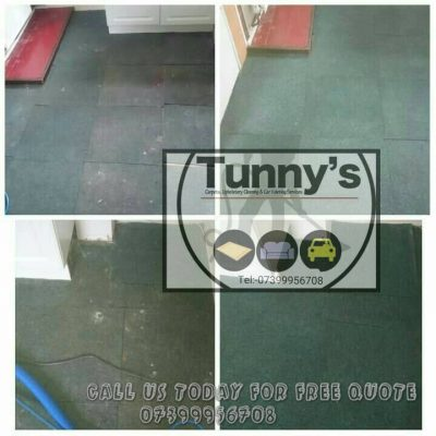 before and after cleaning soiled green carpet tiles