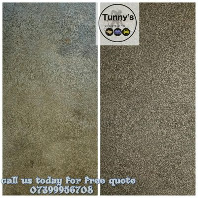 before and after cleaning a carpet