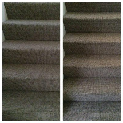 Before and after stairs carpet cleaning